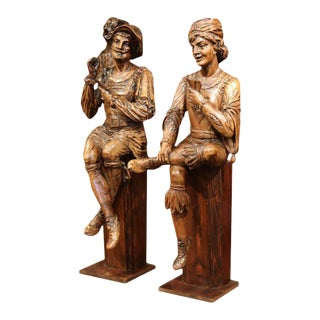 "Mid-18th Century ""The Cards Players"" Italian Carved Walnut Statues - A Pair"