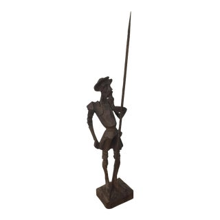 Vintage Wood Carved Don Quixote Statue