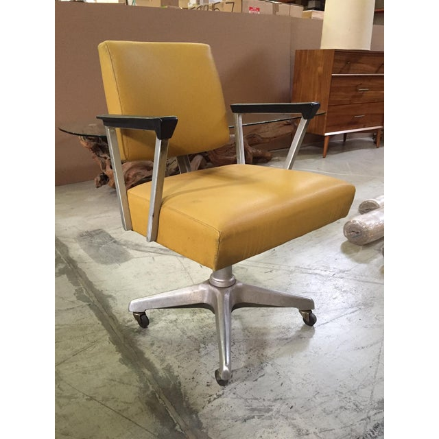 Vintage Yellow Office Chair - Image 2 of 7