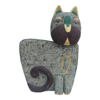 Vintage Hand Carved Wood Cat Statue
