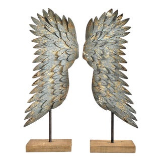 Grunge Metallic Rustic Angel Wings Sculptures - a Pair