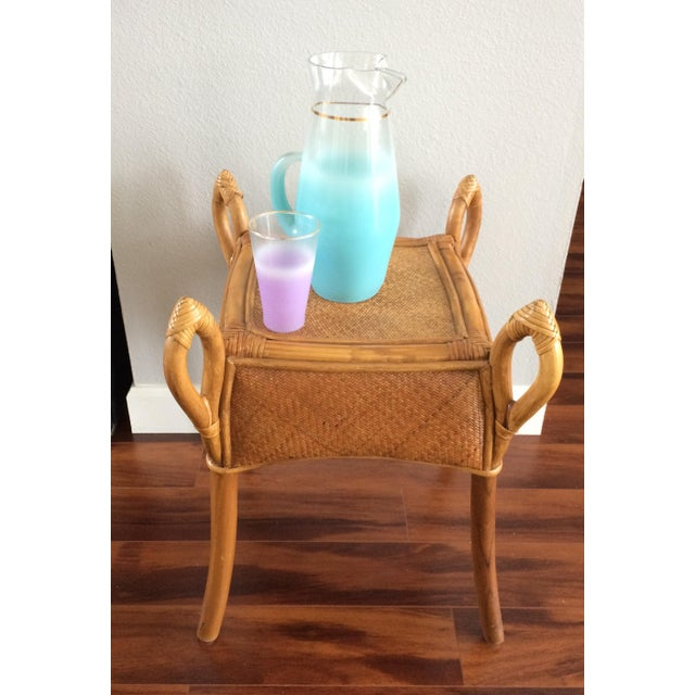 Vintage Bohemian Rattan Wicker Table - Image 6 of 8