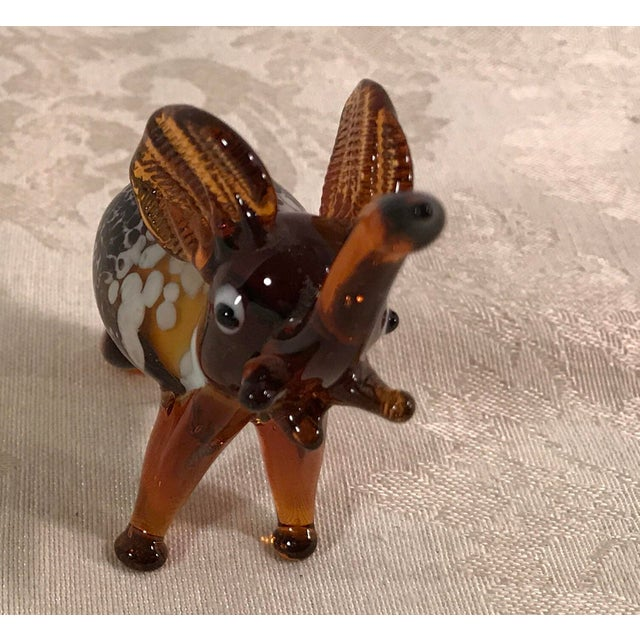 Vintage Blown Art Glass Brown Elephant - Image 3 of 8
