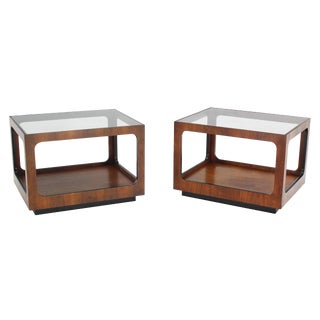 Pair of Cube Shape Walnut End Tables