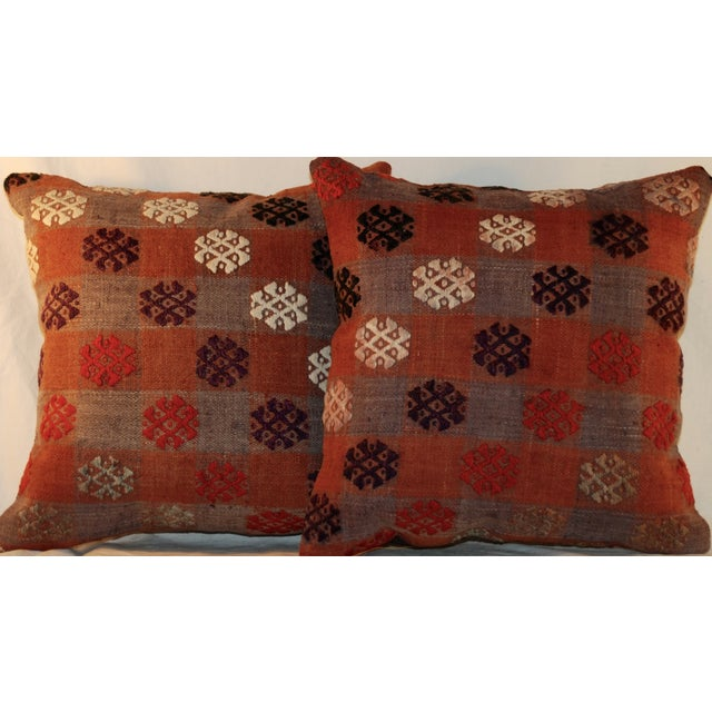 Vintage Handmade Kilim Pillows - a Pair - Image 4 of 7