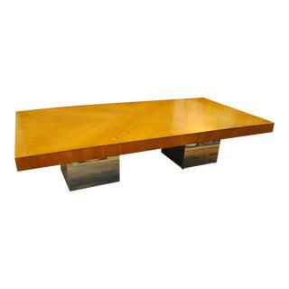 Mid Century Milo Baughman Rectangle Wood & Chrome Coffee Table