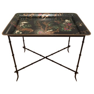Black Chinoiserie Tole Tray Table