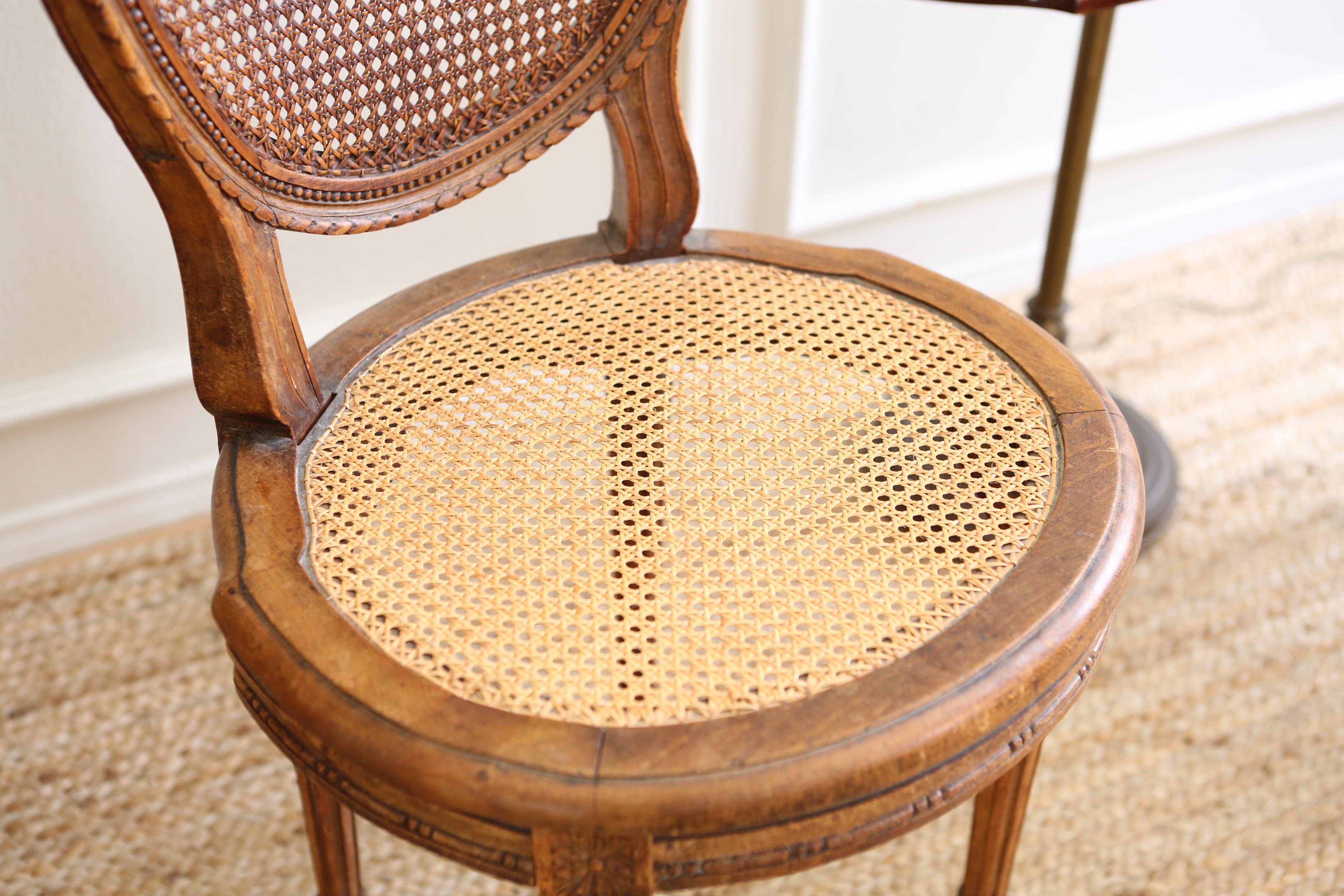 French Cane Chair vintage french shabby chic cane chairs - a pair | chairish