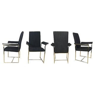 Brass & Black Modernist Dining Chairs - S/4