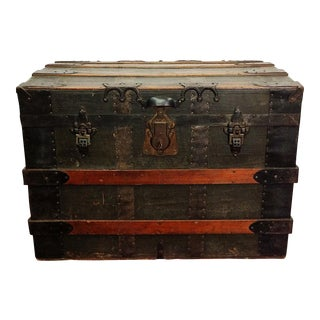 Antique Wood Steamer Trunk with Key