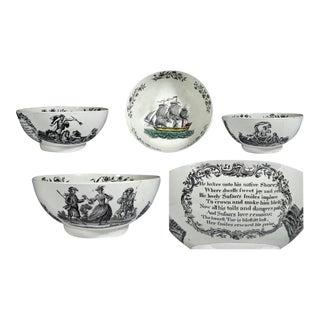 Wedgwood & Co. Creamware Printed Nautical-Subject Shipping Bowl