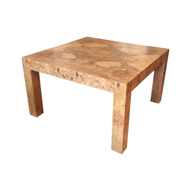 Parsons Style Burl Wood Coffee Table Chairish