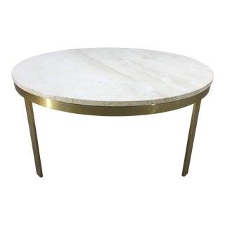 Milo Baughman Style Breccia Circular Marble Top Brass Base Cocktail Table