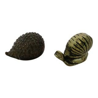 Mini Brass Hedgehog & Snail Figurines - A Pair