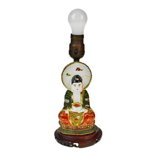 1920s Vintage Takito Japanese Moriage Figural Lamp