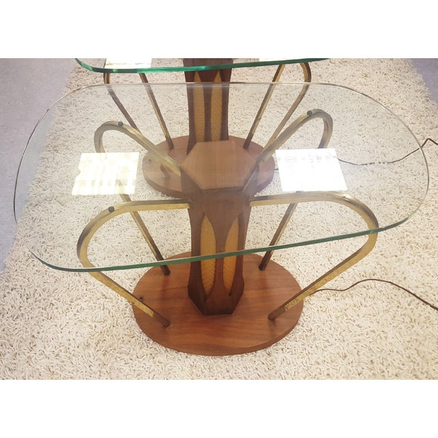 Mid-Century Brass & Glass Lighted Side Tables - Image 3 of 10