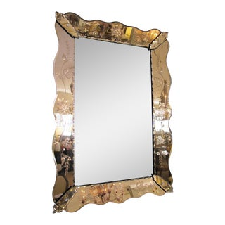 Shapely Italian 1930s Mirror with Etched Peach-Colored Surround