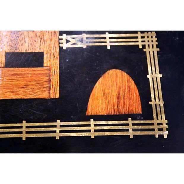 Black Couroc Brass & Wood Inlay Tray - Image 2 of 4