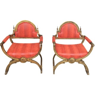 Gilded X-Base Faux Snakeskin Chairs - A Pair