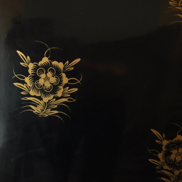 Vintage Chinese 4 Panel Lacquered Hardstone Screen - Image 9 of 10