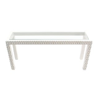 Pineapple Pattern Carved White Lacquer Console Table