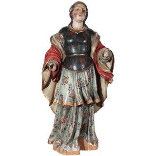 Large, 18th c., Polychrome Statue