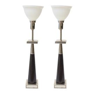 Pair of Nickel Silver and Ebonized Wood Stiffel Greek Key Table Lamps