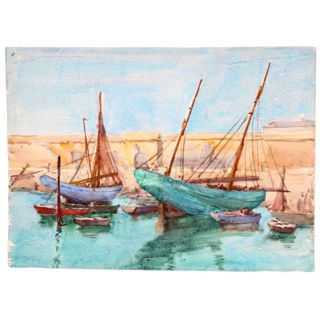 """Ships Docked, France"" Watercolor Painting - Image 1 of 2"