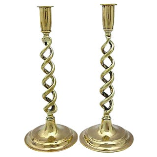 English Brass Twist Candleholders - A Pair