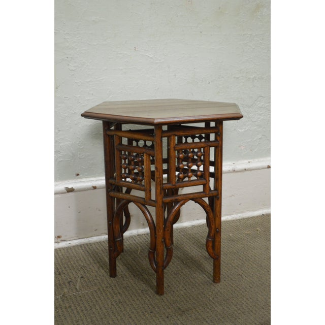 Antique Oak Stick & Ball Hexagon Taboret Plant Stand - Image 10 of 11