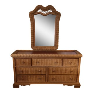 Seven Drawer Wicker Dresser & Mirror by Pennsylvania House