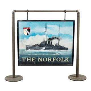 "Early 20th Century Double-Sided Folk Art ""The Norfolk"" Iron Americana Nautical Trade Sign"