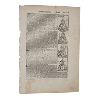 1493 Antique Nuremberg Chronicle Original Leaf Woodcut Print
