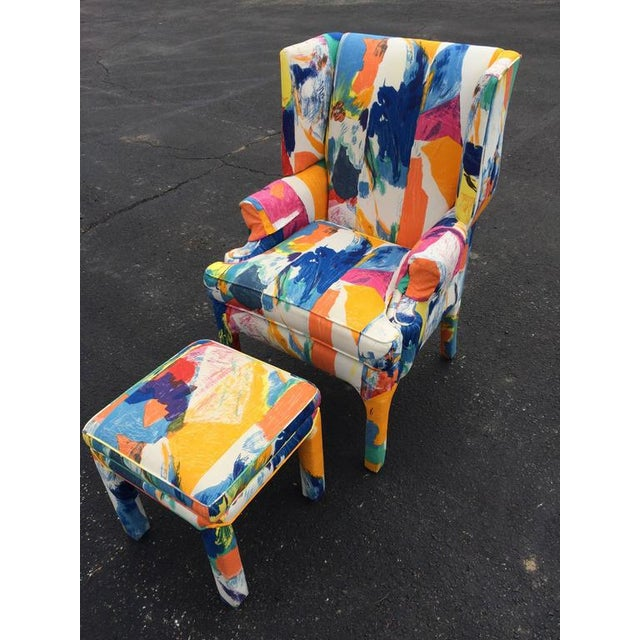 Mid-Century Wing Back Chair & Ottoman - Image 2 of 11