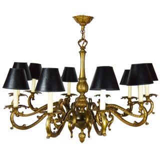 Vintage French Ten-Light Bronze Chandelier