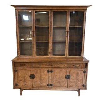Thomasville Walnut Asian Style China Cabinet Hutch Credenza