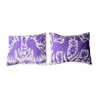 Purple Tenango Pillows - A Pair