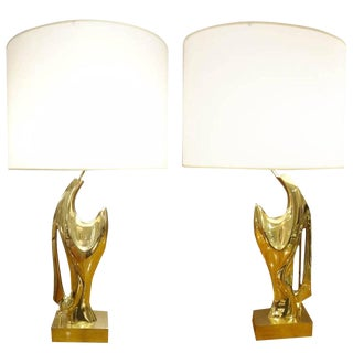 Pair of Table Lamps in Cast Bronze by Alain Chervet France circa 1970s