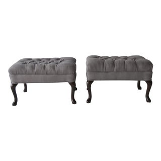 Vintage Queen Anne-Style Tufted Ottomans - a Pair
