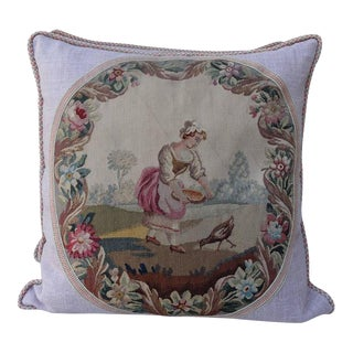 19th C. Aubusson Textile Pillows - A Pair