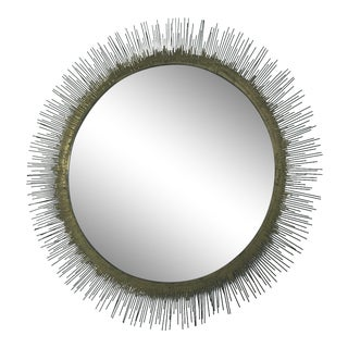 Crate & Barrel Clarendon Brass Round Wall Mirror