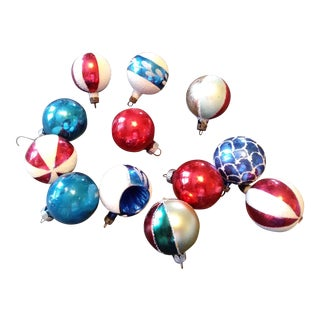 Shiny Brite Red and Blue Christmas Ornaments - Set of 12