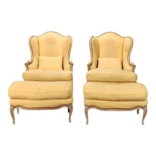 French Winged Bergeres & Ottomans - A Pair