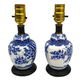 Vintage Blue White Asian Ceramic Table Lamps - A Pair