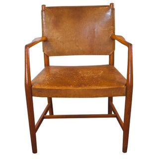 Hans Wegner Brown Leather Armchair