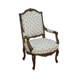 Antique French Louis XV Style Carved Walnut Arm Chair