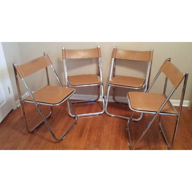 Arrben Italian Leather & Chrome Chairs - Set of 4 - Image 2 of 10