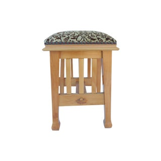 Mission Style Stool with Antique Rug Seat Cover