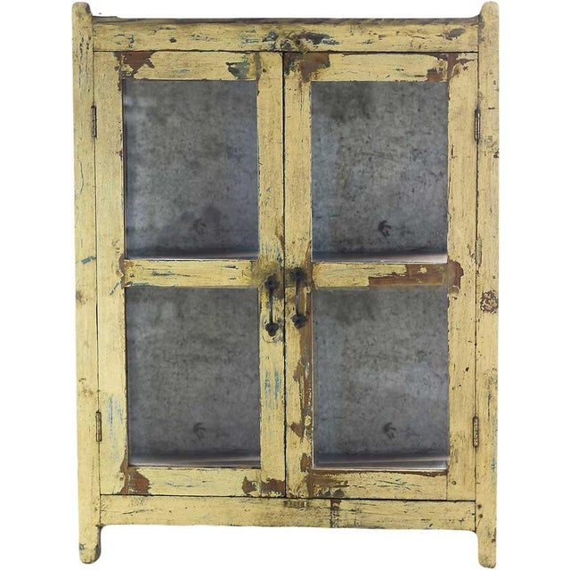Vintage Rustic Yellow Cabinet - Image 2 of 5