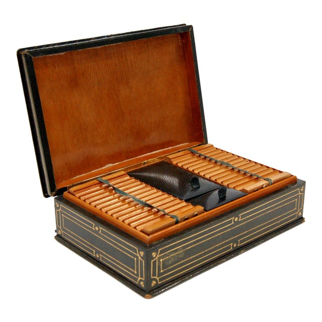 1930's Green Leather Cigarette & Cigar Humidor Tobacco Box - Image 1 of 8